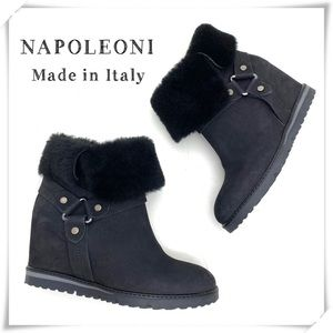 Napoleoni Shearling Cuff Fur Wedge Ankle Boot BK